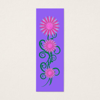 Kid's Bookmark Pink Flower Plant Purple Mini Business Card