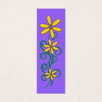Kid's Bookmark Yellow Flower Plant Purple Mini Business Card