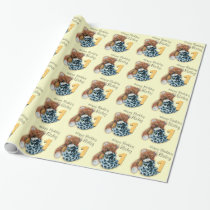 Kids boys 1st birthday teddy bear patterned wrap wrapping paper