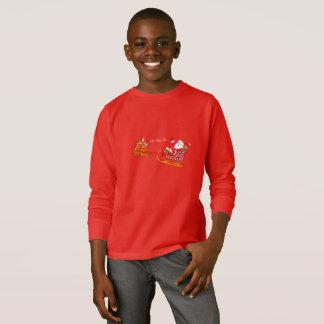 Kid's Boy's Christmas Shirt-Santa & Rudolph T-Shirt