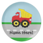Kids Boys Construction Dumptruck Melamine Plate