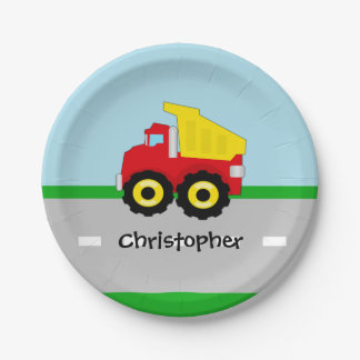Kids Boys Construction Dumptruck Paper Plate