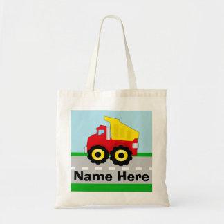 Kids Boys Construction Dumptruck Personalized Tote Bag