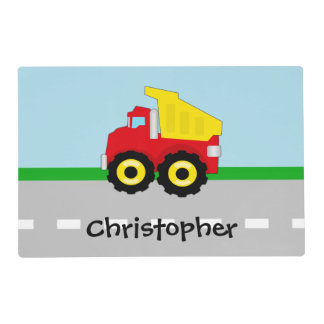 Kids Boys Construction Dumptruck Placemat
