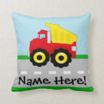 Kids Boys Construction Dumptruck Throw Pillow
