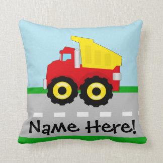 Kids Boys Construction Dumptruck Throw Pillow