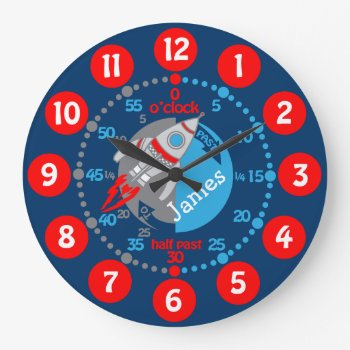 Kids Boys Learn To Tell Time Blue Red Space Clock by Mylittleeden at Zazzle