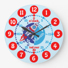 Kids Boys Learn To Tell Time Blue Red Space Clock at Zazzle