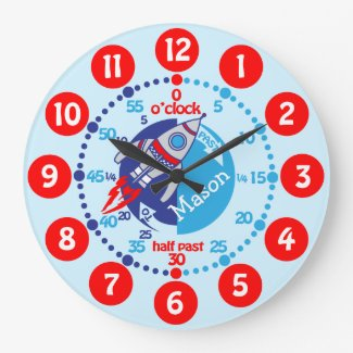 Boys learn to tell time blue red space clock