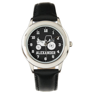 Kids boys name grey black tractor wrist watch