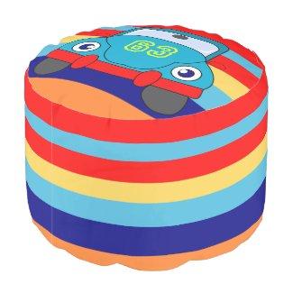 kids,boy's room,colorful stripes round pouf