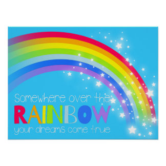 Kids bright rainbow dreams blue sky poster