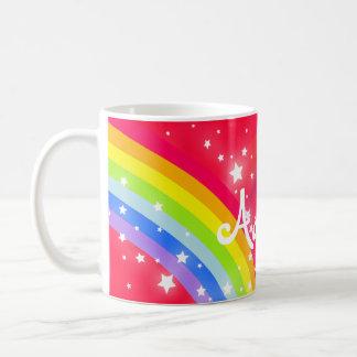Kids bright rainbow red name mug