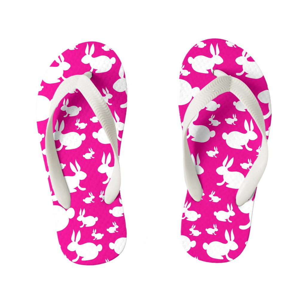 Kids Bunny Flip Flops Pink and White