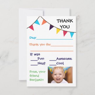 Kid's Bunting Custom - 3x5 Thank You Cards