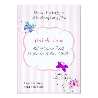 "Kids Butterflies  Birthday Invitation 5"" X 7"" Invitation Card"