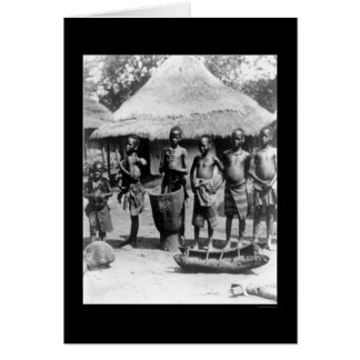 Kids By a Thatched Roof House in East Africa 1903 Greeting Cards