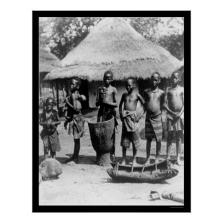 Kids By a Thatched Roof House in East Africa 1903 Poster
