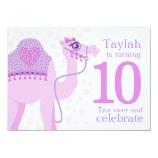 Kids camel riding 10th birthday birthday invite