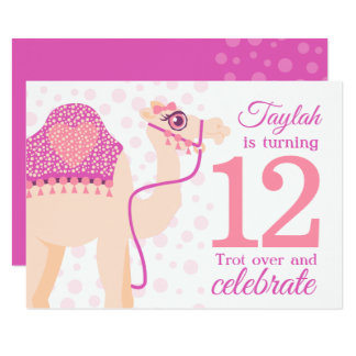 Kids camel riding 12th birthday birthday invite