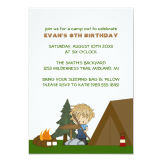 """Kids Camp Out Birthday Party Invitations 5"""" X 7"""" Invitation Card"""