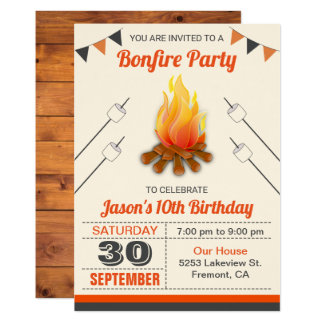 Kids Camp Out Bonfire Birthday Party Invitation