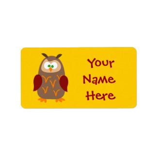 Kids Camp Owl Custom Address Labels
