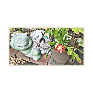 Kids canvas print, Garden Turtle and red flower
