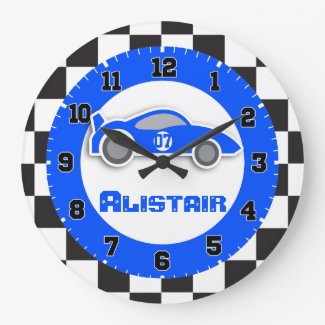 Kids blue chequered flag wall clock
