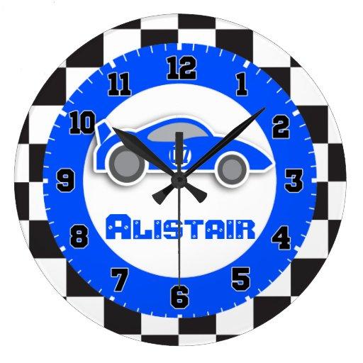 Kids car blue chequered flag name wall clock
