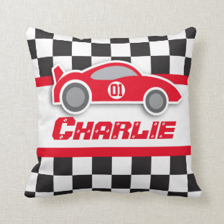 Kids car bright red chequered flag name pillow