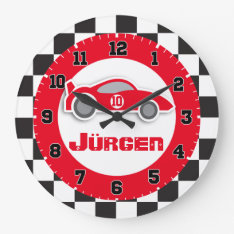 Kids Car Red Chequered Flag Name Wall Clock at Zazzle