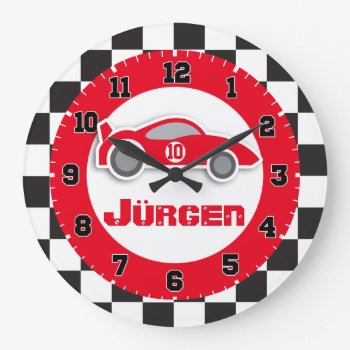 Kids Car Red Chequered Flag Name Wall Clock by Mylittleeden at Zazzle
