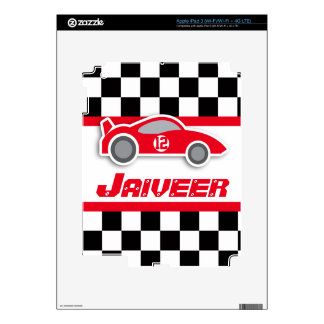 Kids car red chequered flag vinyl iPad 3 skin