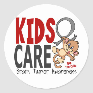 Kids Care 1 Brain Tumor Classic Round Sticker