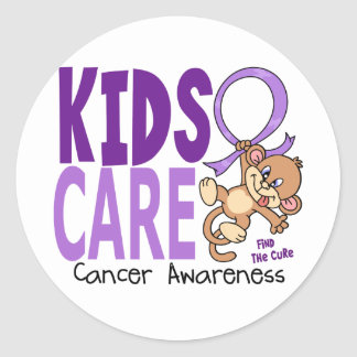 Kids Care 1 Cancer Classic Round Sticker