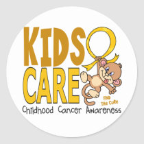 Kids Care 1 Childhood Cancer Classic Round Sticker