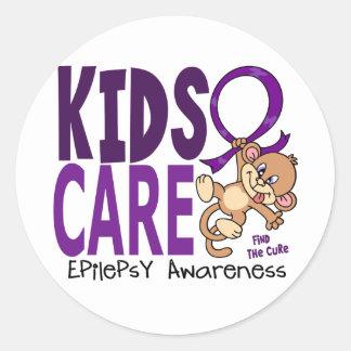 Kids Care 1 Epilepsy Round Stickers