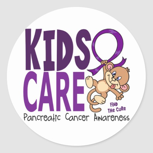 Kids Care 1 Pancreatic  Cancer Round Stickers