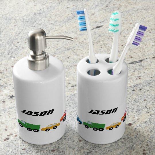 Kids Cars Soap Dispenser U0026 Toothbrush Holder