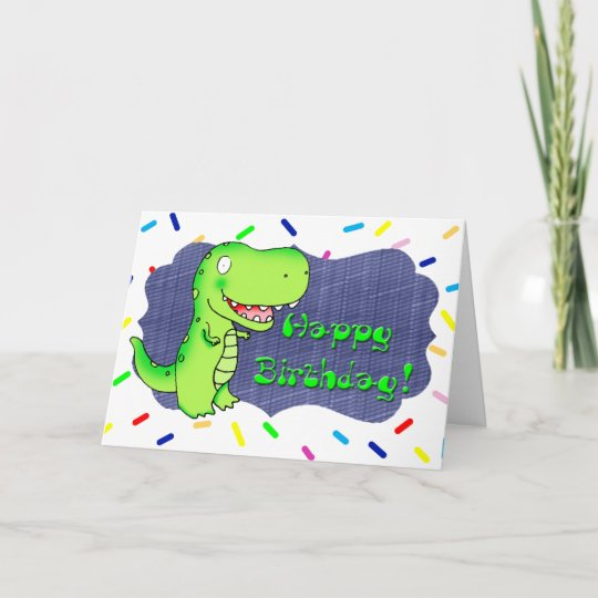 Kids Cartoon Dinosaur T Rex Happy Birthday Card
