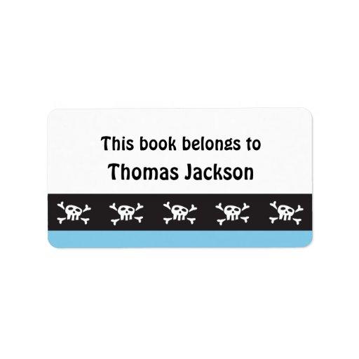 Kids cartoon pirate skull bookplate stickers labels
