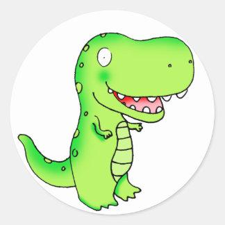 kids cartoon T-rex dinosaur Classic Round Sticker