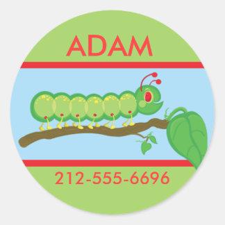 Kids Caterpillar ID Badge Classic Round Sticker