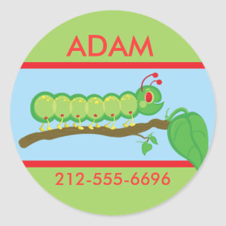 Kids Caterpillar ID Badge Round Stickers