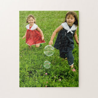 Kids Chasing Bubbles in the Grass Puzzle