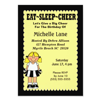 Kids Cheerleader Birthday Invitation