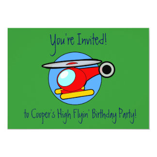 Kids Children Helicopter Birthday Party Inviations Card