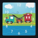 "Kids Choo Choo Train Caboose Square Wall Clock<br><div class=""desc"">All aboard! This fun kids design features a steam engine, coal car and caboose. The train is chuffing near water with blue skies and clouds above. To personalize this colorful design, click on the Customize It button. This item is great for train crazy kids or train lovers. It&#39;s a colorful,...</div>"