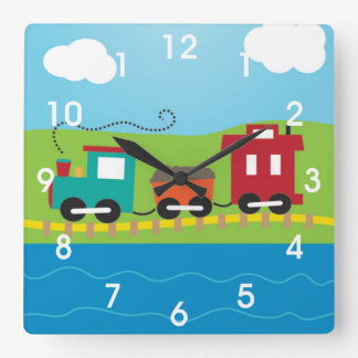 Kids Choo Choo Train Caboose Square Wall Clock